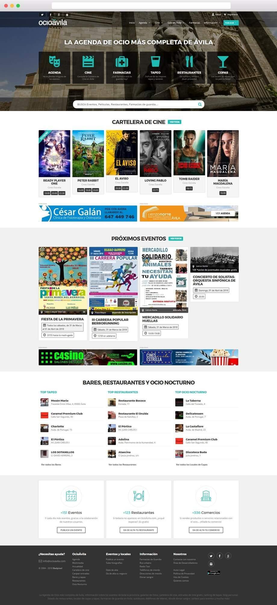 Imagen corporativa, Página web y App para OcioAvila