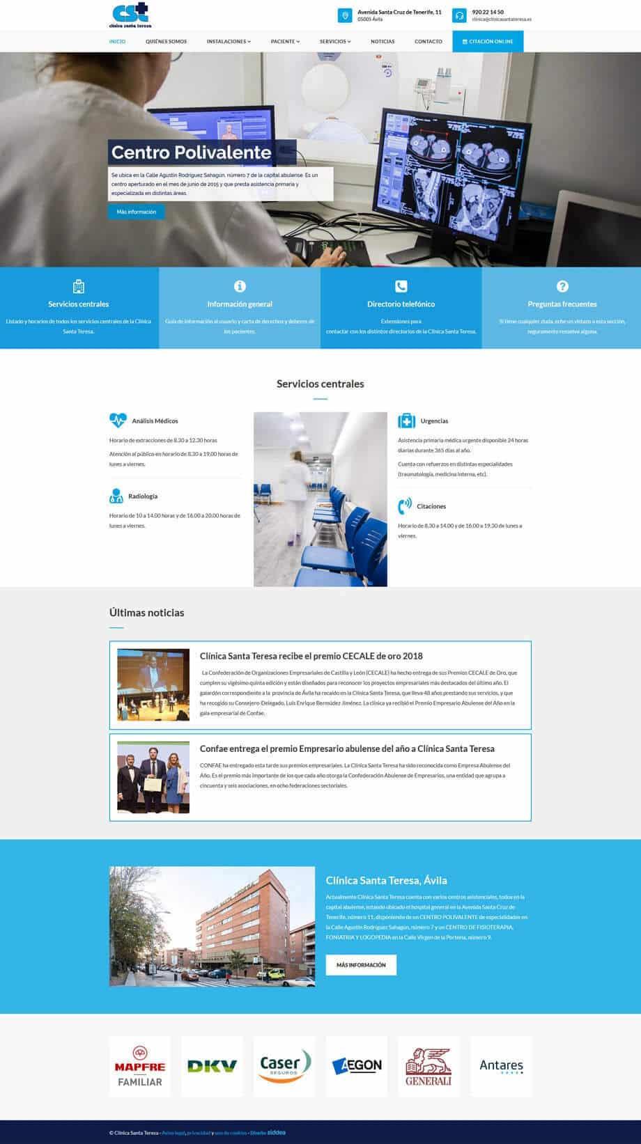 Página web para Clínica Santa Teresa Ávila