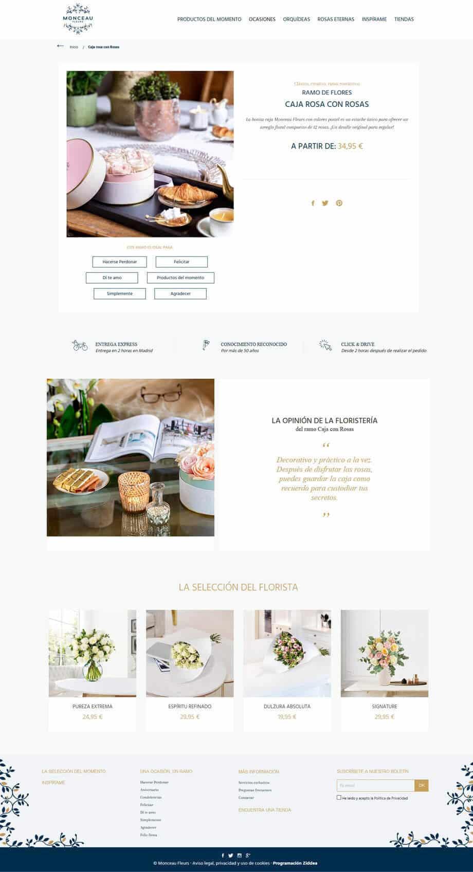 eCommerce para Monceau Fleurs