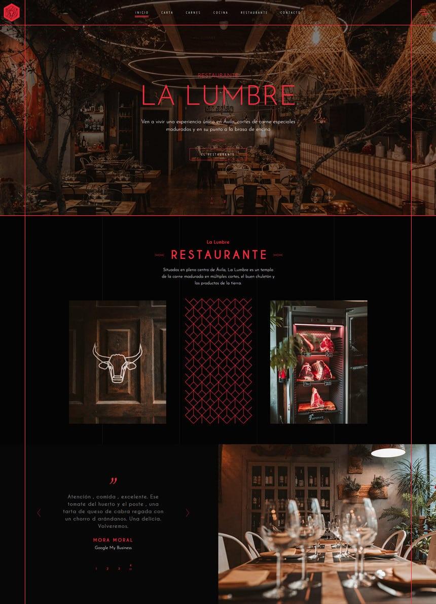 Pagina web restaurante La Lumbre Avila