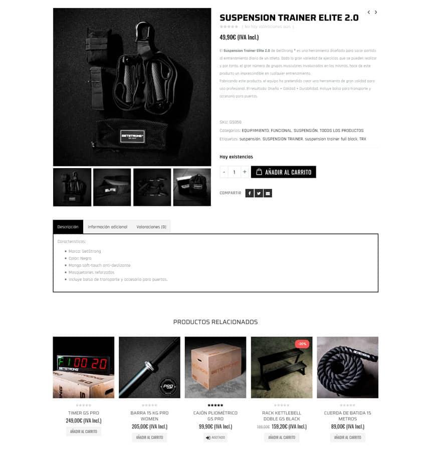 Tienda Online para GetStrong Gimnasios y Crossfit