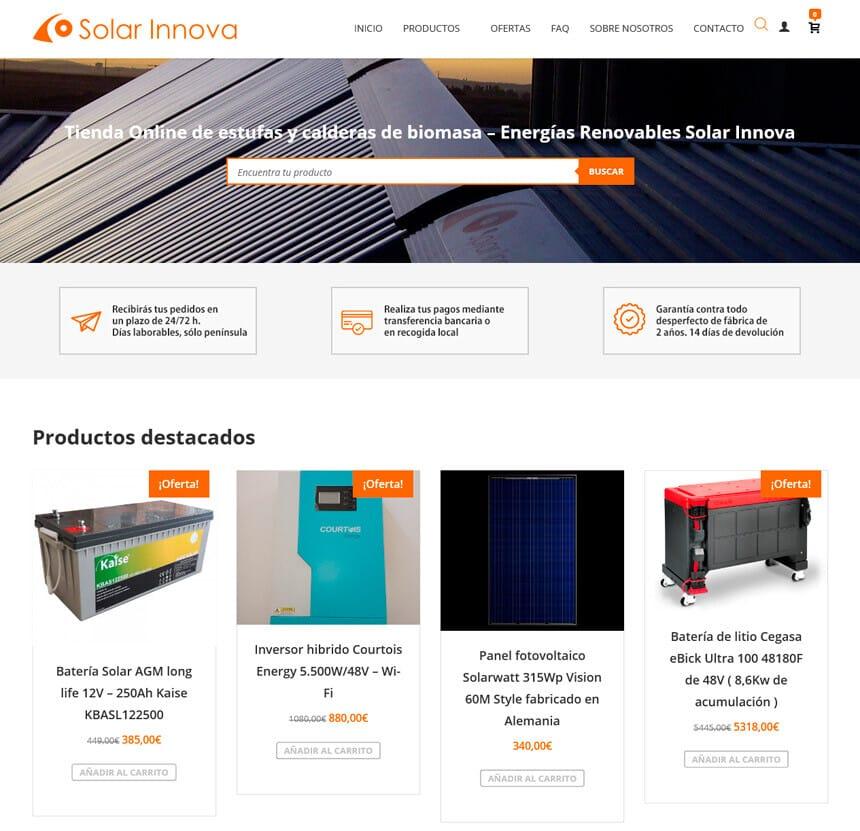 Tienda Online de pellet y biomasa para Solar Innova