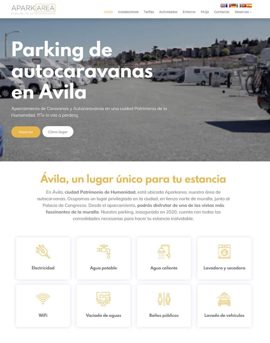 Página web para el Parking de Autocaravanas en Ávila Aparkarea bajo gestor de contenidos Ziddea y gestor de reservas mediante conexión de API con barrera.
